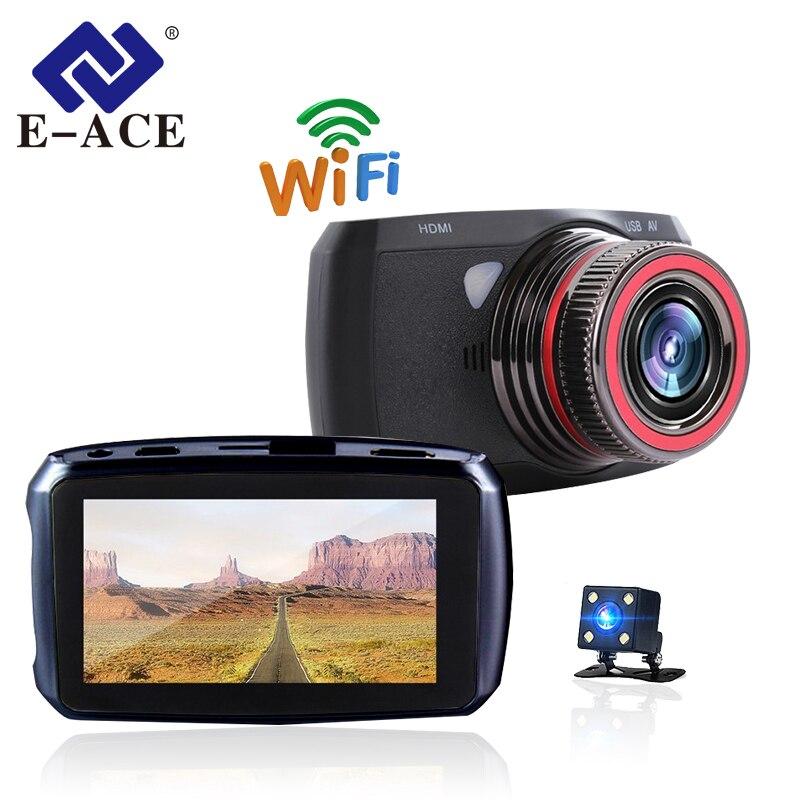 E-ACE Auto Wifi Mini Caméra Enregistreur De Voiture Dvr Miroir Vidéo Registrator Voiture Caméscope Dash Caméra Double Lentille Dashcam Automobile Cam