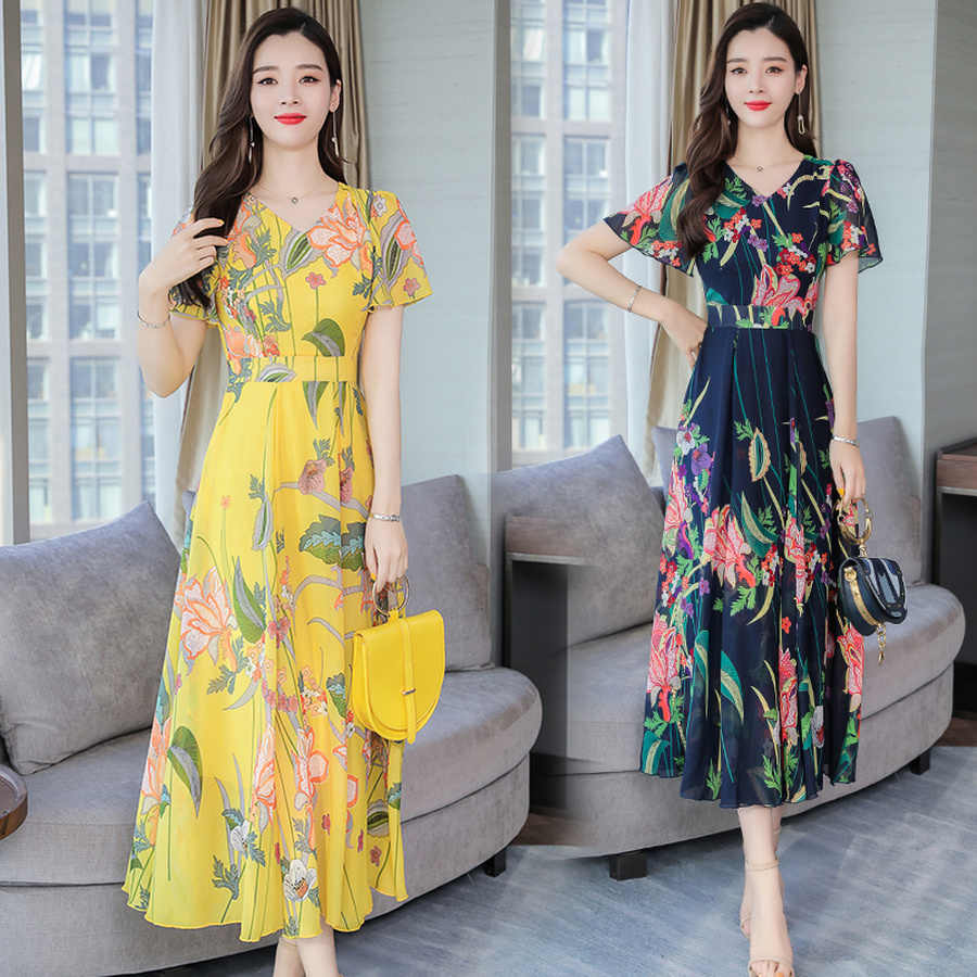 Летнее винтажное пляжное макси-платье размера плюс 3XL с принтом 2019, шифоновое платье миди в стиле бохо с цветочным принтом, элегантные женские облегающие вечерние платья