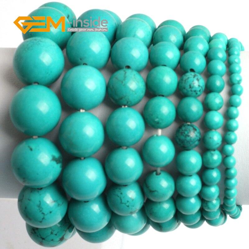 Gem-inside 7.5inch Blue Turquoises Stone Beads DIY Bracelets For Women Bangles Jewelry Elastic Cord Religious Trinket For Men