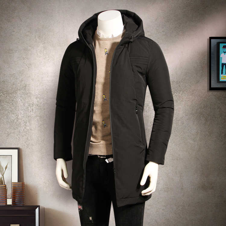 2017 atest style winter jacket men thickening medium-long with a hood wadded jacket outerwear