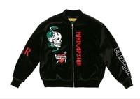 Kpop Home BTS Bangtan Boys JIMIN Same Zipper Embroidered Baseball Jacket Skull Sweatershirt Man And Women