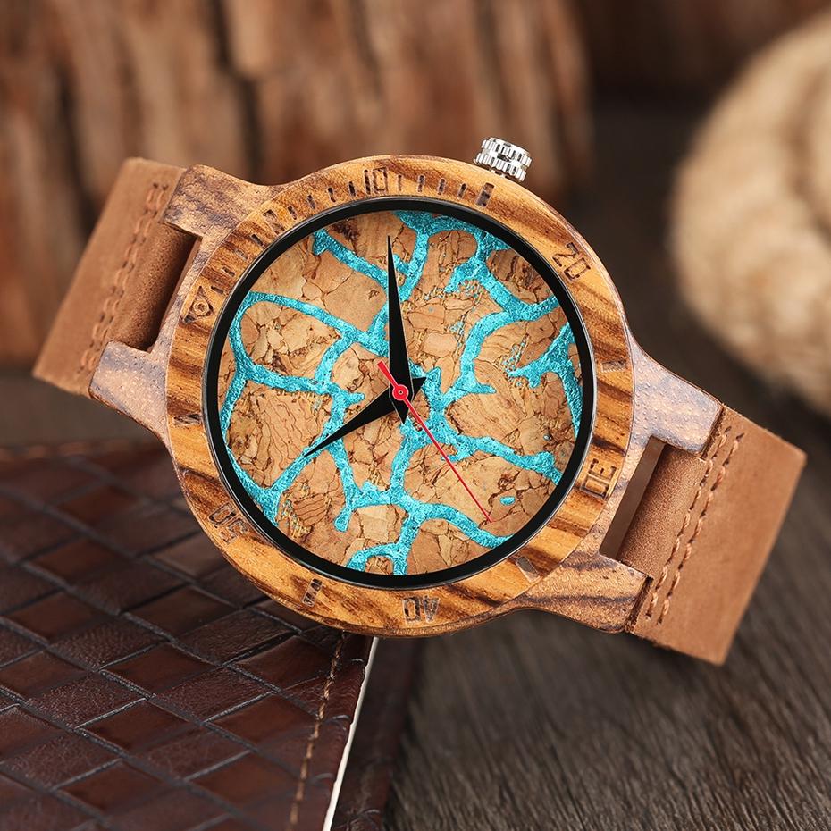 Unique Stripes Lines Dial Wooden Watch Mens Bamboo Creative Quartz Clock Genuine Leather Bangle Reloj de madera 2017 New Fashion  (33)