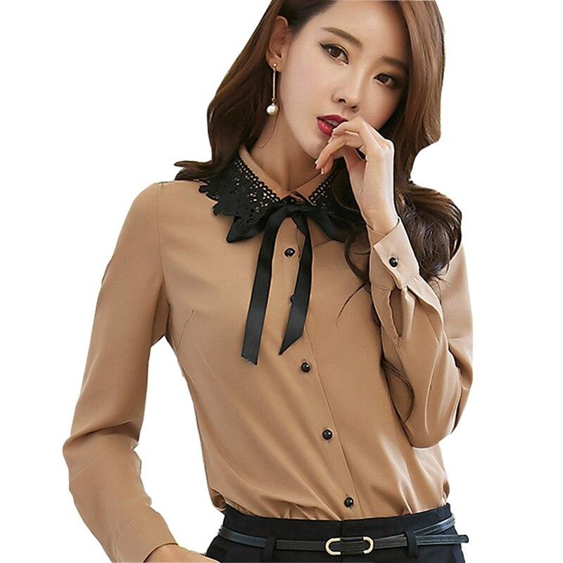Motýlek dámské šifónové halenky velikost M-XL černé krajkové límec Patchwork Elegantní dámské OL módní košile
