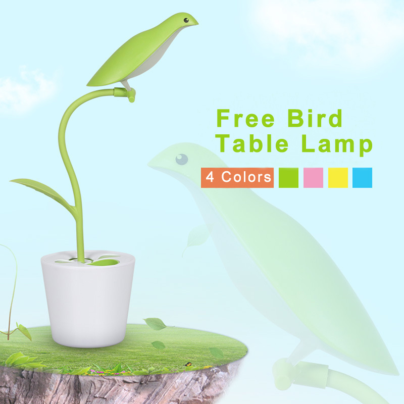 Flexible Bird Pen Container Eye Protection Led Desk Lamp Table Light Book Light Reading Led Desk Lamp USB Rechargeable ...