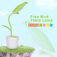 Flexible Bird Pen Container Eye Protection Led Desk Lamp Table Light Book Light Reading Led Desk Lamp USB Rechargeable