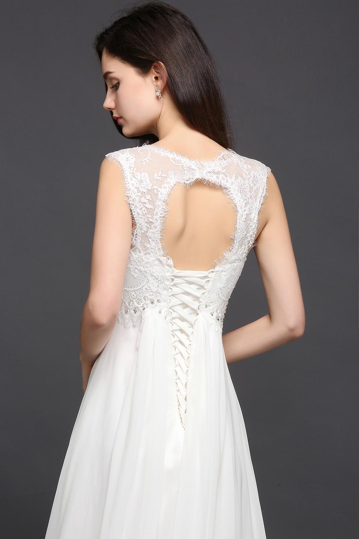 Chiffon Beading Boho Beach Wedding Dress 2