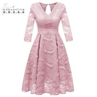 Robe de soiree Dusty Pink Short Lace Evening Dresses 2019 Half Sleeves Sexy Floral Print Formal Cocktail Party Dresses