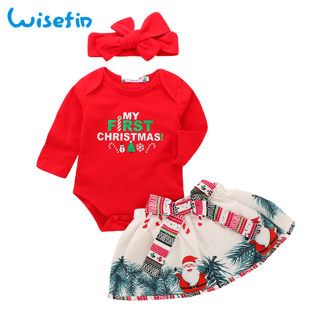 9e30d54a6 Wisefin My First Christmas Girl Set Newborn Baby Girl Clothes Set baby Christmas  Outfits Toddler Infant Clothing Skirts+Headband