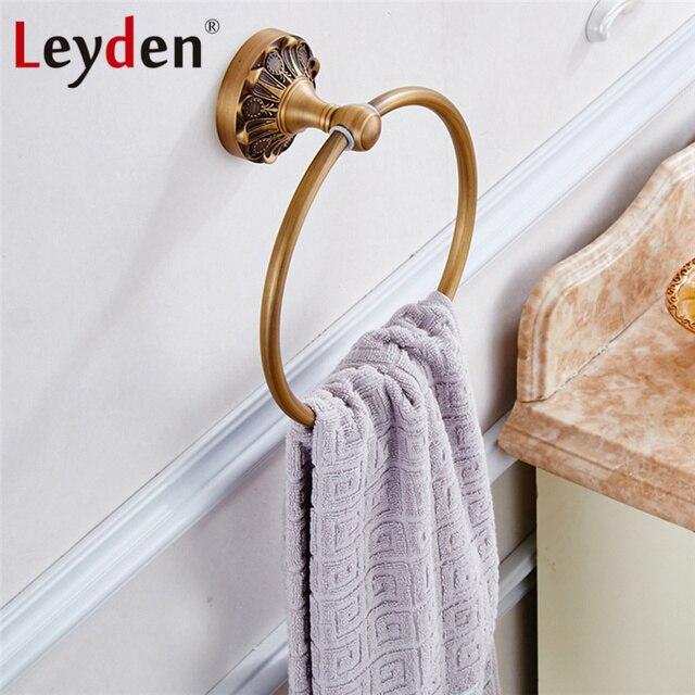 Leyden Retro Handdoekenrek Antiek Messing/Zwart Handdoek Ringen ...