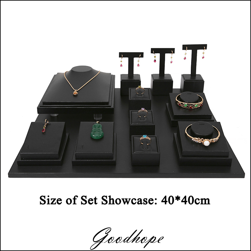 Quality Black Faux Leather Jewelry Earring Ring Bracelet Necklace Pendant Collection Display Stand Holder Organizer Showed Case faux leather fringe necklace