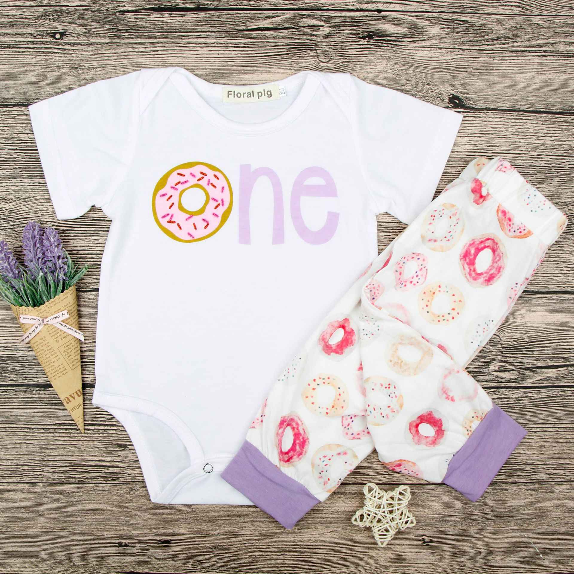 f74fd674b2 Baby Girl Donuts Clothes Set 2pcs Newborn Baby Girl Short Sleeve Jumpsuit  Bodysuit Donuts Pants Suit