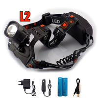 Cree L2 Led Headlamp Frontale Head Flashlight Lampe Head Torch Lamp Zoom Focus With USB Port
