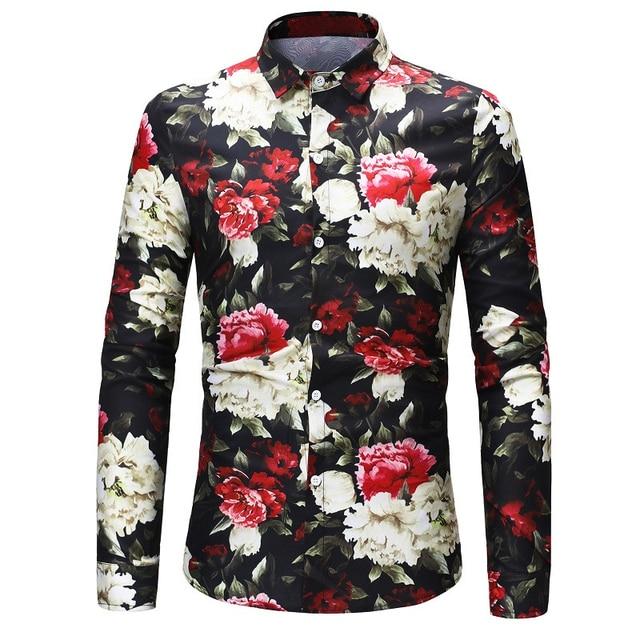 79a4c2f4dc9 Autumn New Men Floral Shirt Rose Flower Printed Dress Long Sleeve Hawaiian Men  Slim Fit Social