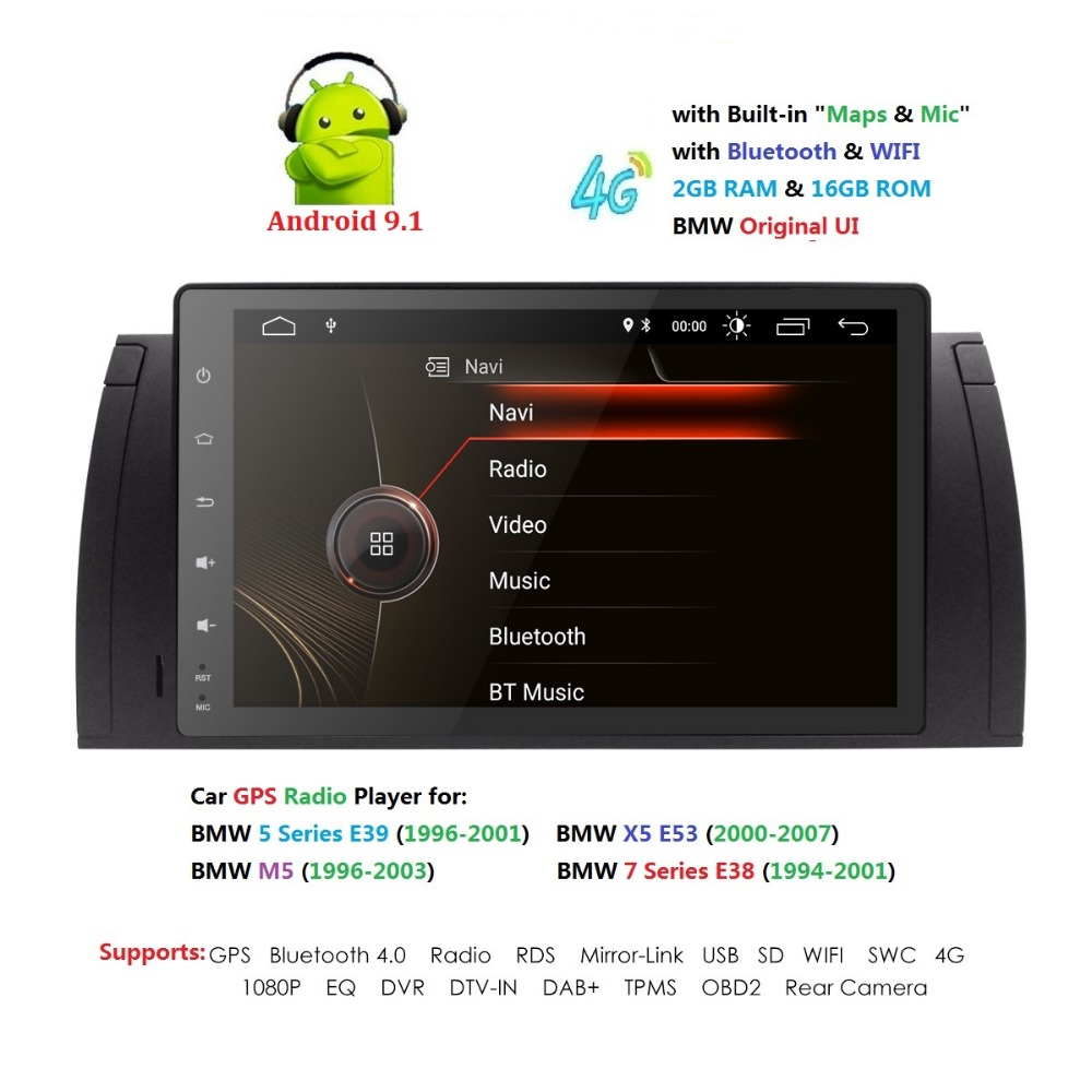 Car Multimedia Radio-Stereo Touch-Screen Bluetooth Wifi 1024x600 E53x5 Android 9.1 9inch