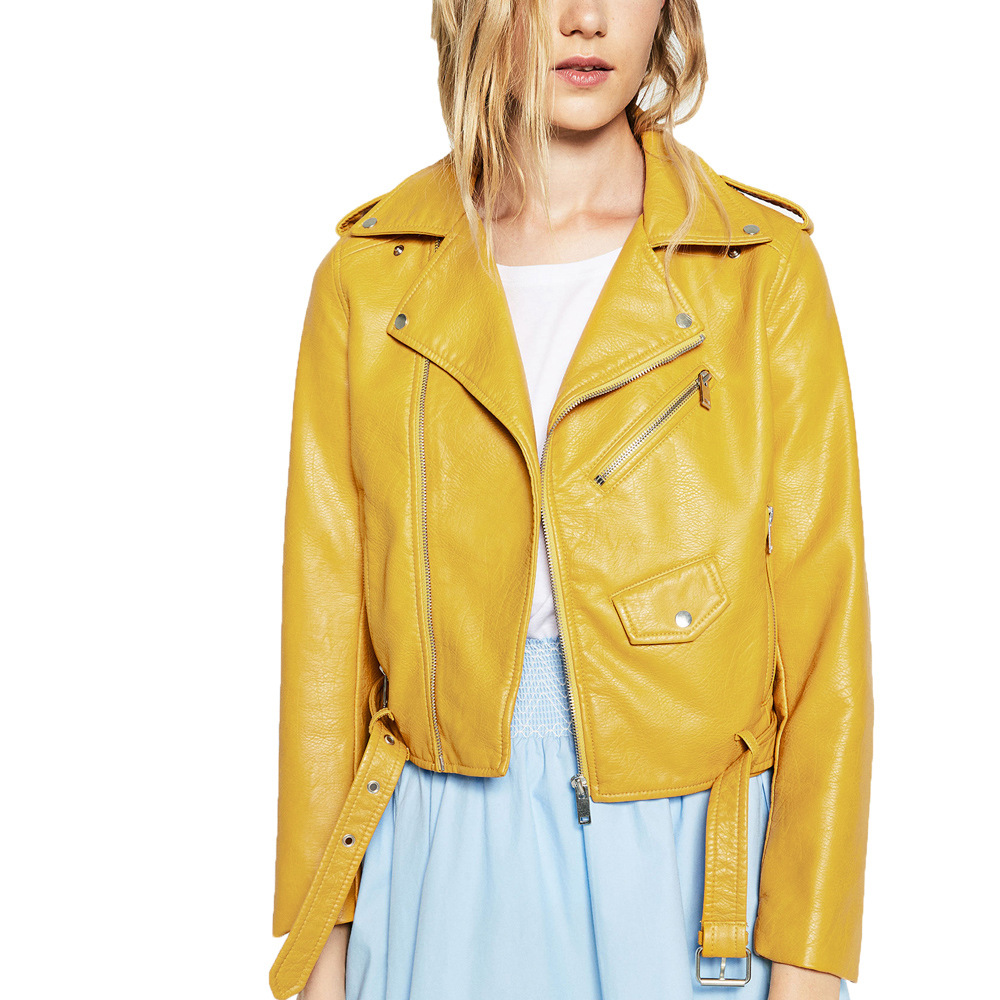 women's Europe and the United States coat of cultivate morality a undertakes double small   leather   coat lapels
