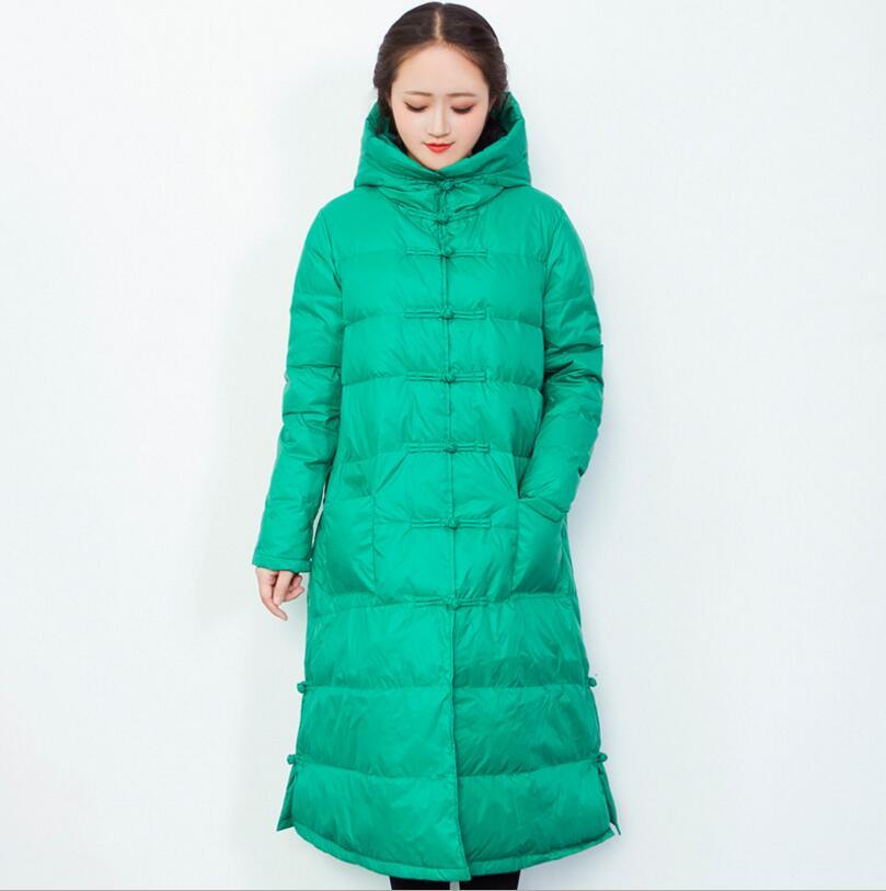 Capuchon Style Manteaux Down R146 Poitrine Long Canard Duvet Blanc green Lâche Vestes rose 2018 Chinois Femmes Rétro À Pankou black Red Unique De D'hiver UAqwxpnSPF