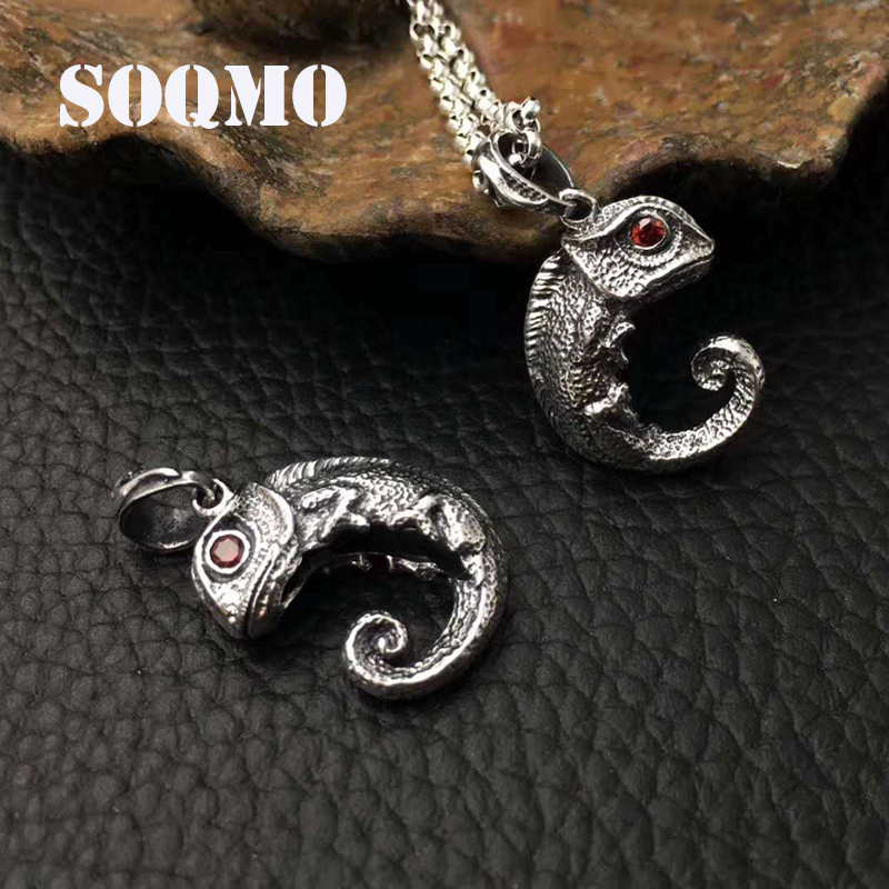 SOQMO Men Women Pendant 100% Real 925 Sterling Thai silver Inlaid Stone Animal Lizard Necklace Pendant Christmas gift jewelry soqmo ye of god pendant 100% real 925 sterling silver fine jewelry men women punk eye of devil necklace pendant sqm058