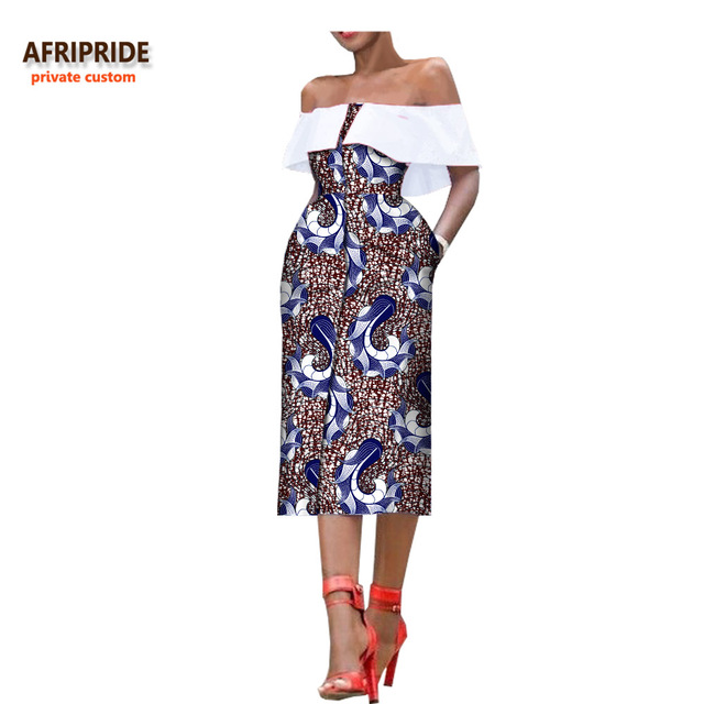 0b23ef2c666 2018 african style summer women dress AFRIPRIDE sleeveless mid-calf single  breasted strapless casual dress for women A7225159