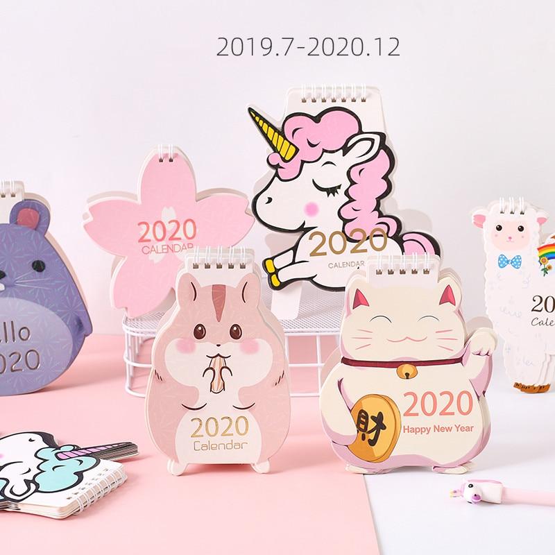 New 2019.07~2020.12 Kawaii Unicorn Calendar Cat Laser Mini Desktop Calendar Memo Planner Daily Schedule Plan Birthday Stationery