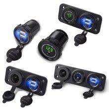 Newest 12V-24V Dual USB Charger + Cigarette Lighter +Voltmeter Car Socket with Independent On/Off 2.1+2.1A Fast