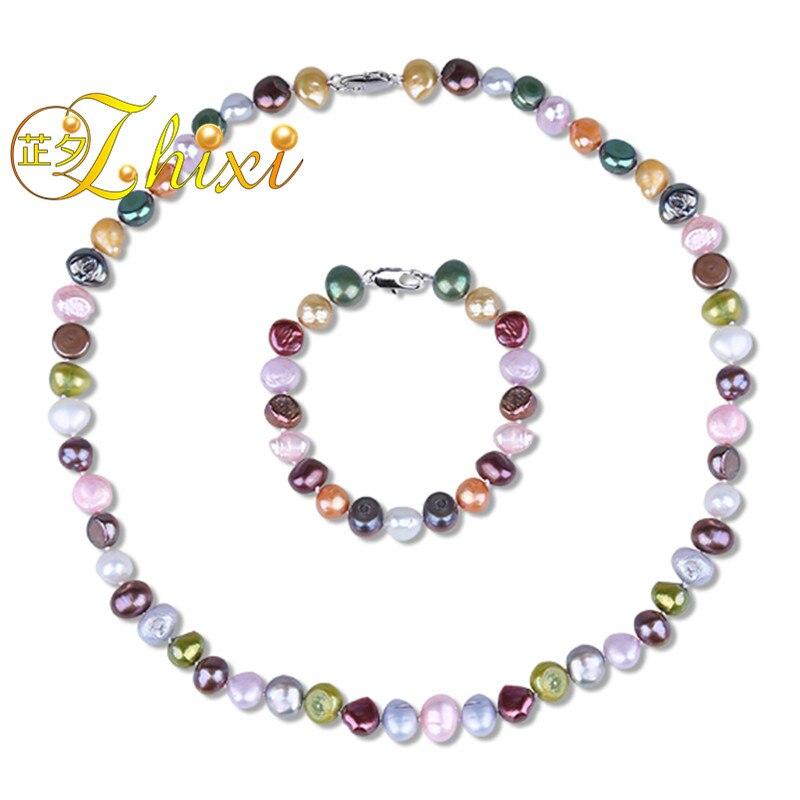 ZHIXI Baroque Pearl Jewelry Set Perla D'acqua Dolce Reale Choker Del Braccialetto Della Collana 8-9mm marche Da Sposa Bene Regalo Del Partito T206