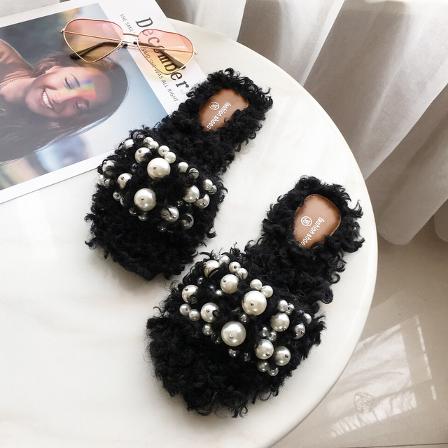 9a56e2cf540 Women Pearls Fur Slides Wool Cashmere Blend Crystal Furry Slippers Fashion  Design Flip Flops Rhinestone Black
