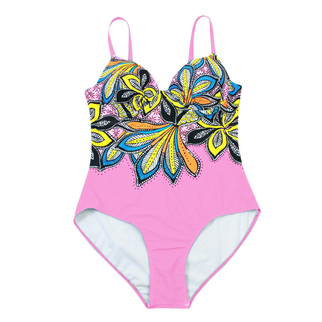 Women Summer Backless Sexy Print Swimwear Beachwear Siamese 2019bikini 1.9 P35 Harmonious Colors Women's Clothing