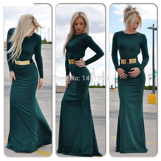 Modest Prom Dresses with Sleeves Dark Green Long Sleeve Evening ...