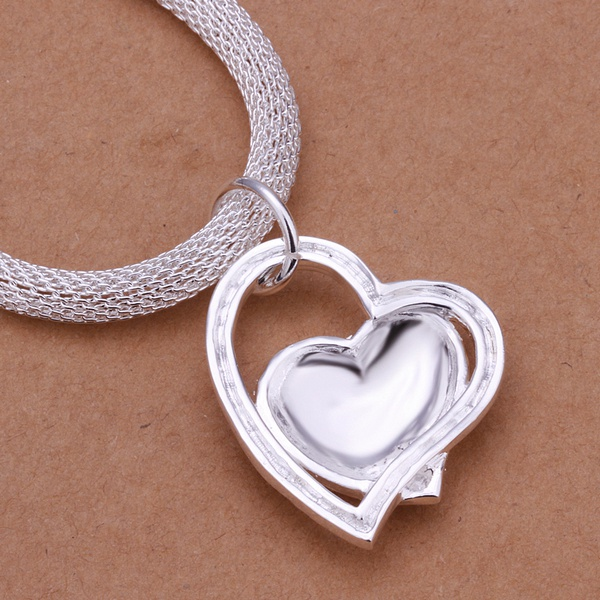 silver color gorgeous charm fashion charm heart wedding lady love necklace noble luxury 18 inches Silver jewelry , N270 3