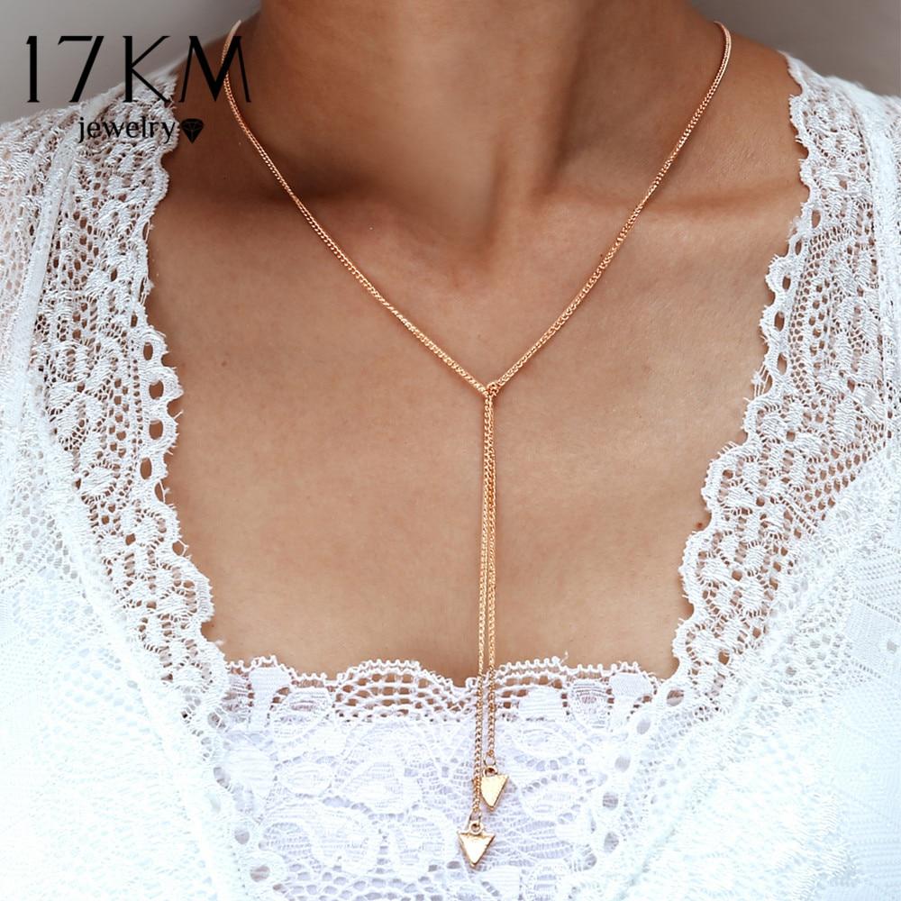 17 Km Mode Lange Dreieck Halsketten Für Frauen Gold Splitter Farbe Lange Quaste Halskette Aussage Collier Femme Schmuck Geschenke 2018
