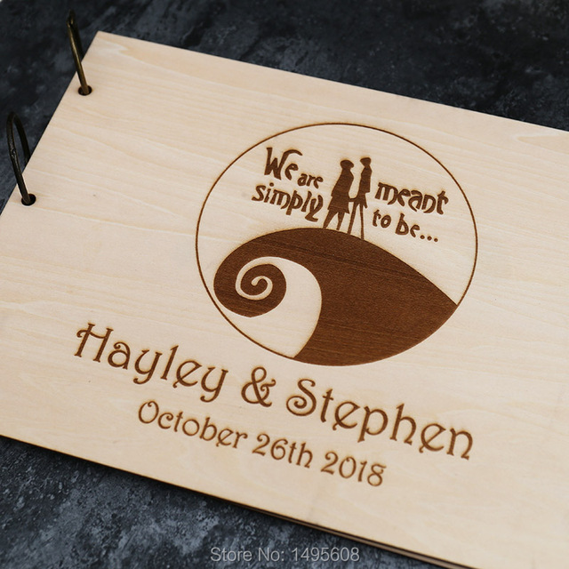 wedding guest book guest book personalized customized tim burton the nightmare before
