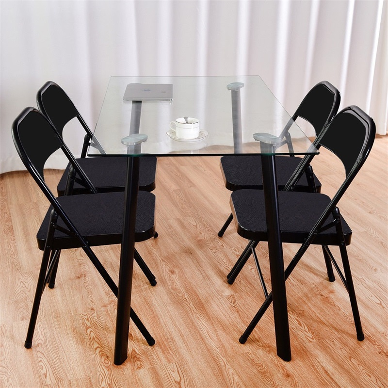 Set Of 4 Fabric Upholstered Padded Seat Metal Frame Folding Chairs Heavy-load Steel Frame