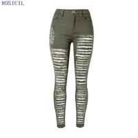 ROSICIL Fashion Pencil Jeans Woman Casual Denim Stretch Skinny Jeans Vintage High Waist Jeans Women Army