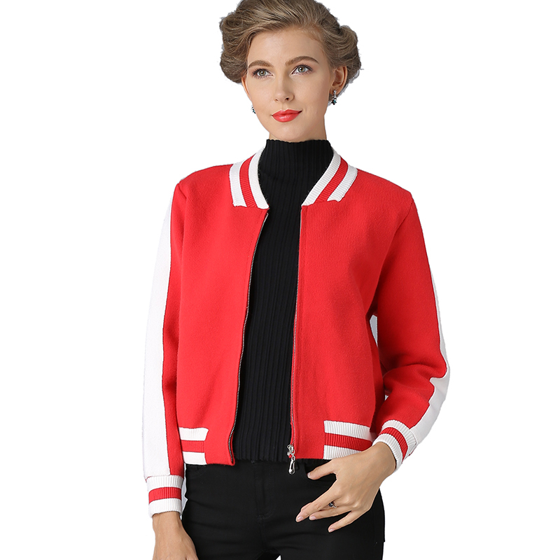 2017 Women Cardigans Knitting Sweater Autumn Winter Open Stitch Cardigans O-neck Solid with Pocket Zipper Cardigan Jacket Coat