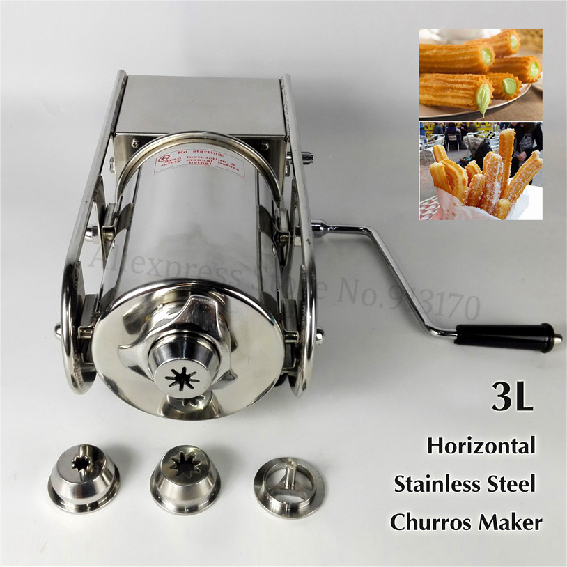 Horizontal 3L Manual Stainless Steel Sausage Stuffer Salami Maker Spanish Churros Extruding Machine