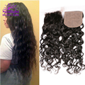 "Peruvian Virgin Hair Silk Base Closure 10-18 Inches Cheap Unprocessed Peruvian Water Wave Silk Base Closure Free Part 4""x4"""