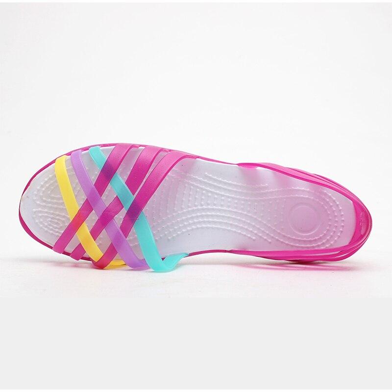 HTB19JkJMpzqK1RjSZFoq6zfcXXaf MCCKLE Women Jelly Shoes Rainbow Summer Sandals Female Flat Shoes Ladies Slip On Woman Candy Color Peep Toe Women's Beach Shoes
