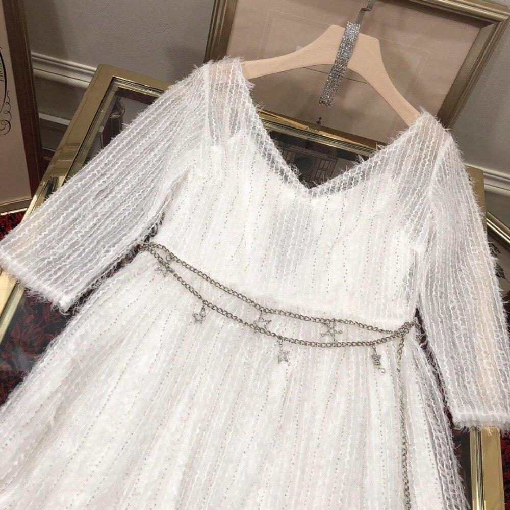 Robe pour femme sexy illusion v cou demi manches cristal taille retour avec perlé bow-dessus du genou longueur femmes robes 0306
