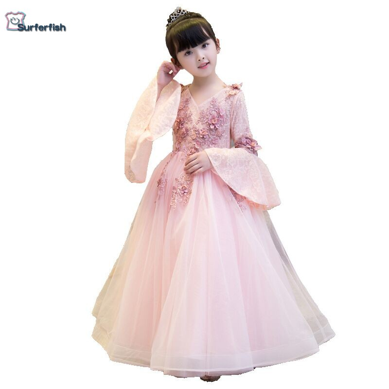 Elegant Blushing Pink Flower Girl Dress A line Princess Scoop Neck Bell Sleeve Applique Lace Rhinestone Pearl Floor Length dress-in Dresses from Mother & Kids    1