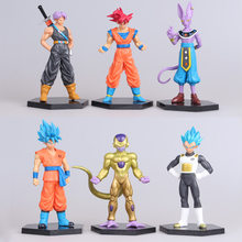 6 pçs/lote figuras de Dragon ball z figuras de ação goku dragonball super trunks azul super saiyan deus Beerus vegeta Freeza brinquedos(China)