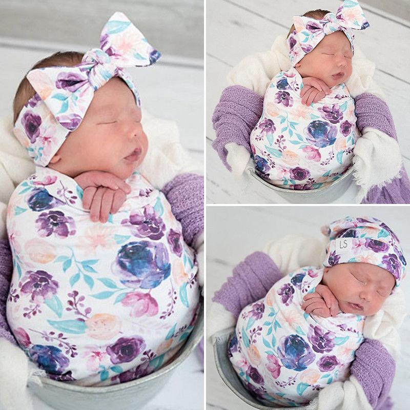 Cotton Swaddle Muslin Blanket Newborn Baby Floral Wrap Swaddling Blanket 3PcsCotton Swaddle Muslin Blanket Newborn Baby Floral Wrap Swaddling Blanket 3Pcs