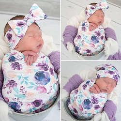 Хлопка пеленать муслиновое одеяло для малышей, с цветочным узором Обёрточная бумага пеленание Одеяло 3 шт