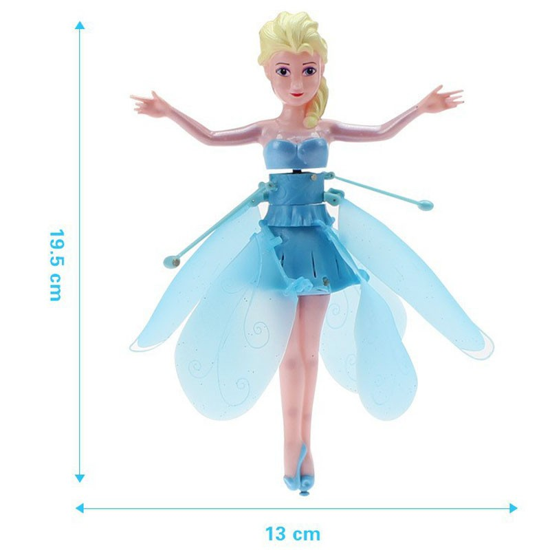 Free Shipping Blue Flying Fairy Elsa Doll Toys Infrared Induction Control Dolls Fly Toys Baby Gift Boy/Girl Funny