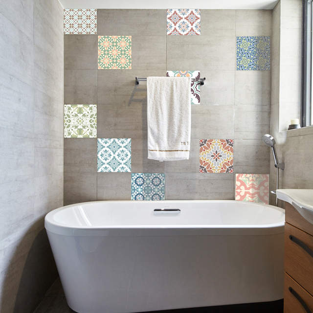 10 stücke 22x22x0,5 cm Continental Retro Fliesen Muster Wandaufkleber Küche  Toilette Badezimmer Wasserdichte Wandaufkleber tapete