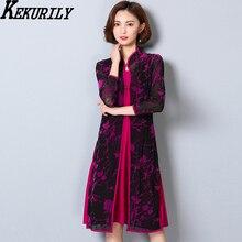 Фотография KEKURILY women lace dress suits cardigan 2 piece set plus size large xxxl 3xl 4xl 5xl female party dresses elegant vintage black