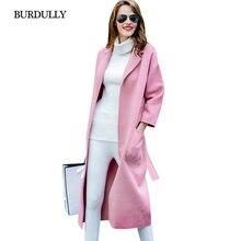 446a72168904 BURDULLY Koreanische Lange Winter Woolen Wollmantel Frauen Schlank Casacos  Femininos Warm Outwear Reiner Wolle Mantel Rosa Abrig.