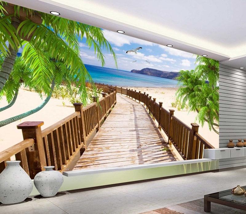 Custom Modern Photo 3D Maldives LandscapePhoto Wallpaper,3D TV Background Wallpaper Modern Art Wallpaper Mural Home Decor