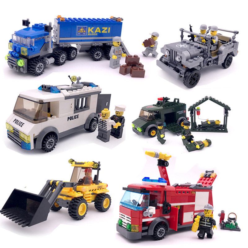 Building Blocks Truck and Truck Engineering Fire Engine Childrens Smart Car Toys For Children Hobbies Action Toy Figures