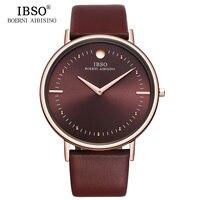 IBSO Mens Watches Top Brand Luxury Brown 7 5MM Ultra Thin Quartz Watch Men Genuine Leather