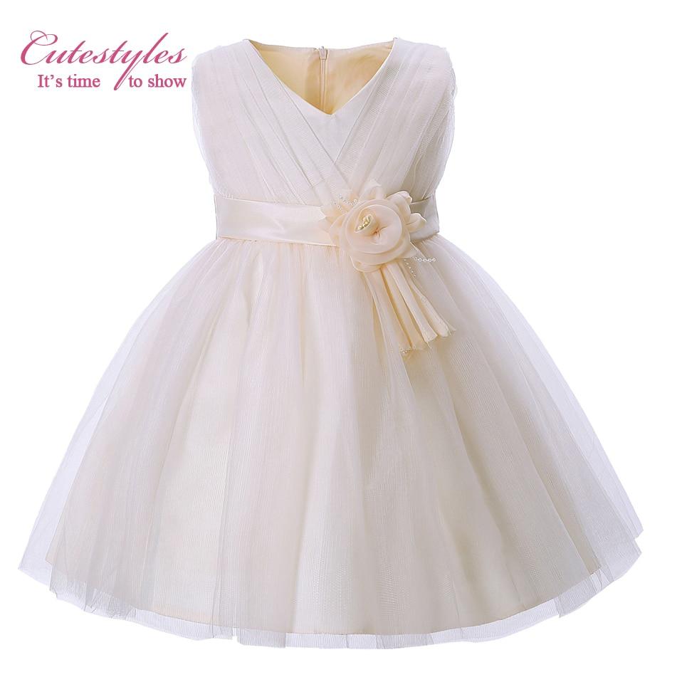 Cutestyles 2018 New Summer Girl Flower Dresses Beige Tulle